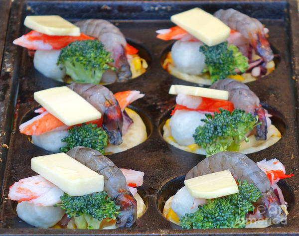 Wall Art - Photograph - Baking Tray With Seafood And Cheese by Yali Shi