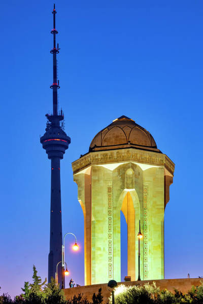 Photograph - Baku Tv Tower And Eternal Flame Memorial  by Fabrizio Troiani
