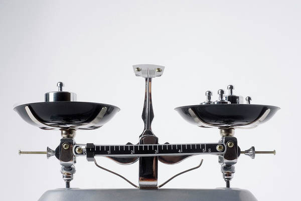 Scale Photograph - Balance Scales With Metal Weights by Vladimir Godnik