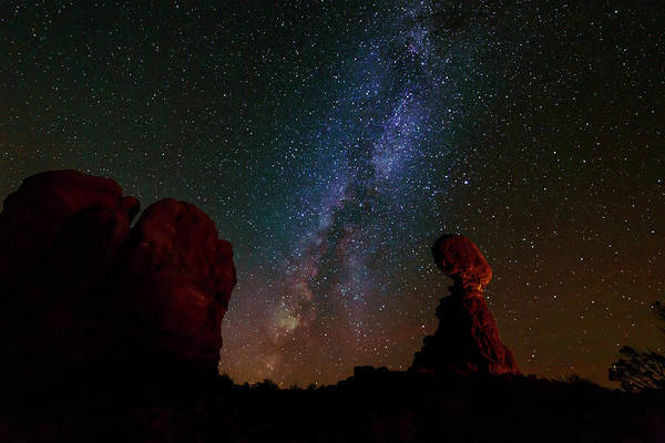 Photograph - Balanced Rock Below The Milky Way by Tim Stanley