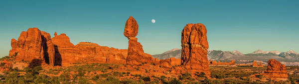 Wall Art - Photograph - Balanced Rock With Full Moon Glowing by Panoramic Images