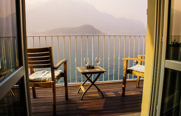 Photograph - Balcony View Of Sunset 1, Lake Como, Italy by Dawn Richards