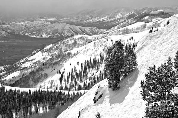 Photograph - Bald Mountain Expert Slopes Black And White by Adam Jewell