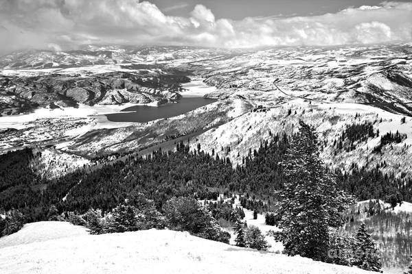 Photograph - Bald Mountain Jordanelle Reservoir Views Black And White by Adam Jewell