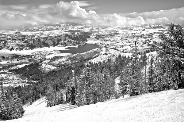 Photograph - Bald Mountain View Of The Jordanelle Reservoir Black And White by Adam Jewell
