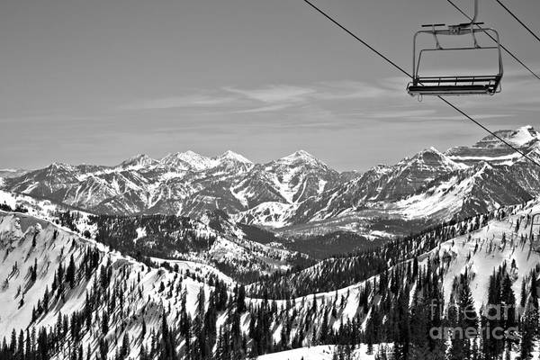 Photograph - Baldy Chair Over The Wasatch Mountains Black And White by Adam Jewell