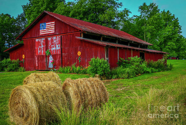 Photograph - Baled Hay And Barn by Tom Claud