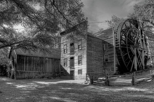 Camera Raw Photograph - Bales Grist Mill And Granary Monochrome by Brenton Cooper