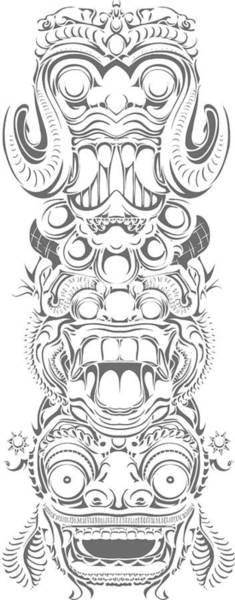 Digital Art - Balinese Demon Aztec Totem by Passion Loft