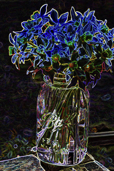 Mixed Media - Ball Jar Of Daffodils by Lesa Fine