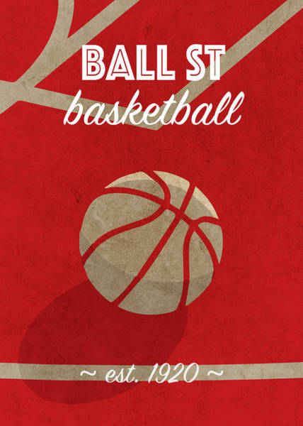 St Mixed Media - Ball St University Retro College Basketball Team Poster by Design Turnpike