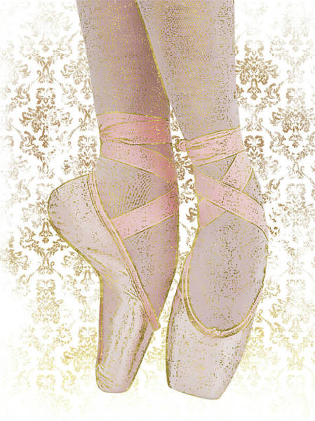 Pointe Shoes Wall Art - Digital Art - Ballerina Pointe Shoes - Pink Gold White by Flo Karp