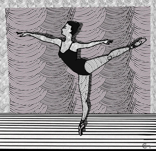 Drawing - Ballet Dancer Arabesque by Cecely Bloom