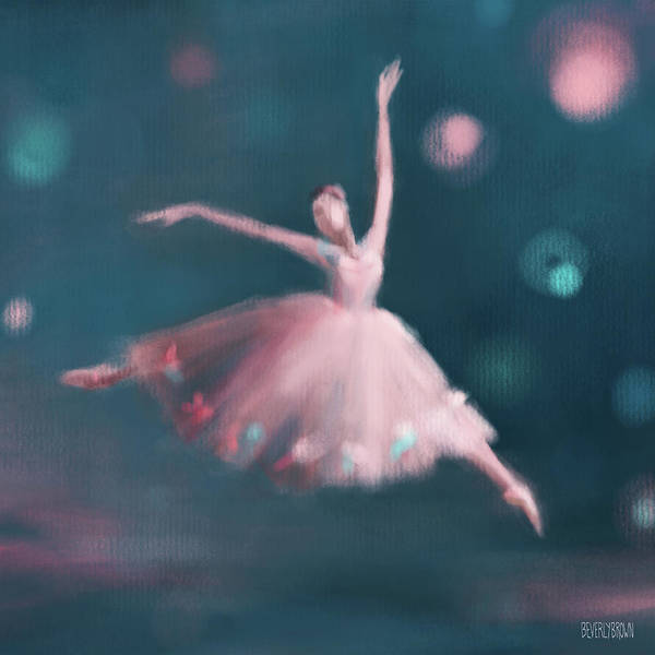 Wall Art - Painting - Ballet Dancer Pink And Peacock Blue by Beverly Brown
