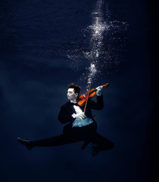 Underwater Photograph - Ballet Dancer Playing Violin Underwater by Henrik Sorensen
