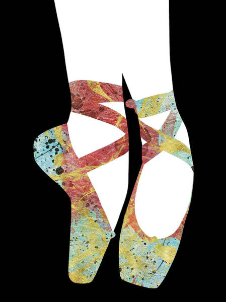 Wall Art - Digital Art - Ballet Pointe Shoes - Collage Red Blue Gold by Flo Karp