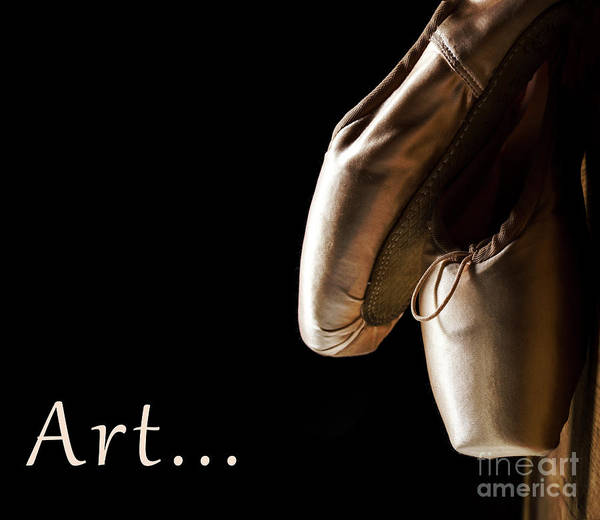 Wall Art - Photograph - Ballet Pointe Shoes Hanging Over Black Background.  by Jelena Jovanovic