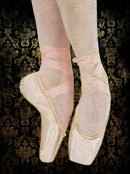 Pointe Shoes Wall Art - Digital Art - Ballet Pointe Shoes - Pink Gold Black by Flo Karp