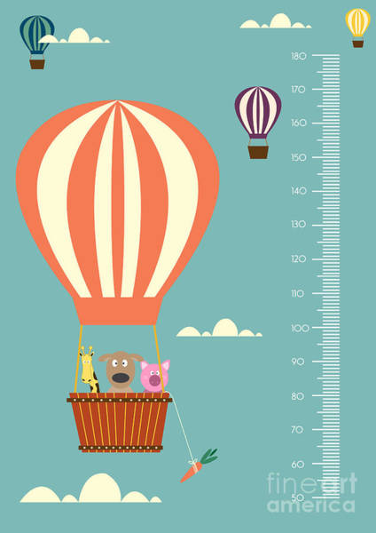 Air Balloon Wall Art - Digital Art - Balloon Cartoons ,meter Wall Or Height by Isaree