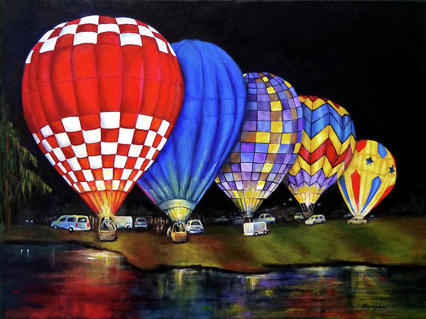 Wall Art - Painting - Balloons Aglow by Elaine Hodges