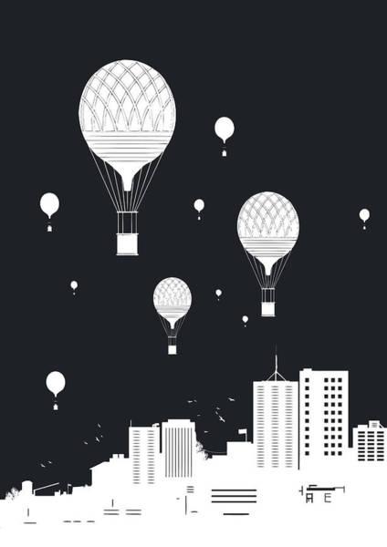 Surreal Mixed Media - Balloons And The City by Balazs Solti