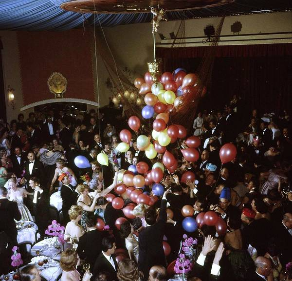 Guest Photograph - Balloons Dropping On Guests During New Y by Loomis Dean