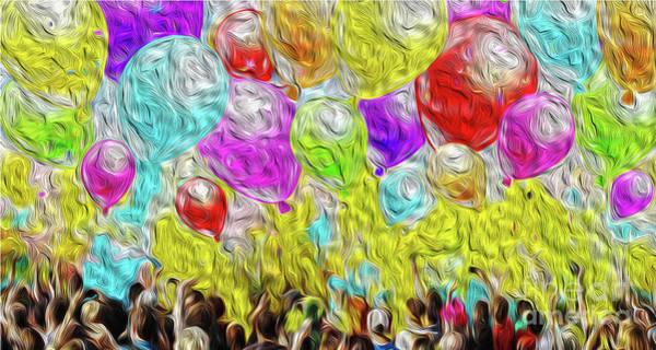 Balloon Festival Digital Art - Balloons For Peace by Petra Koehler Rose