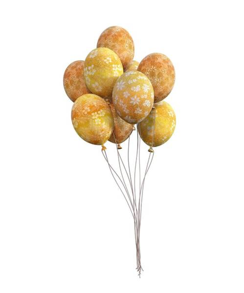 Wall Art - Digital Art - Balloons Golden by Betsy Knapp