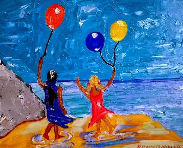 Painting - Balloons Over Caswell Bay by Rusty Gladdish
