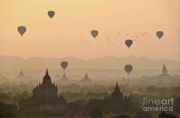 Wall Art - Photograph - Balloons Over The Temples Of Bagan by Sarawut Intarob