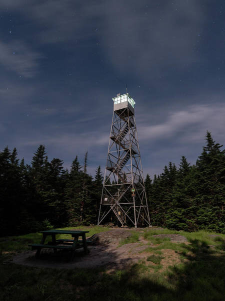 Photograph - Balsam Lake Mountain Firetower Moonlight by Brad Wenskoski