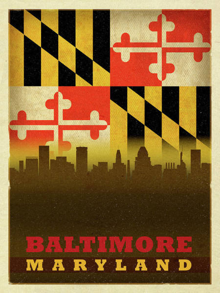 Maryland Mixed Media - Baltimore City Skyline State Flag Of Maryland by Design Turnpike