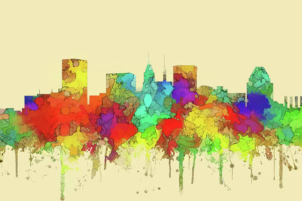 Wall Art - Digital Art - Baltimore City Skyline Watercolor 2 by Marlene Watson