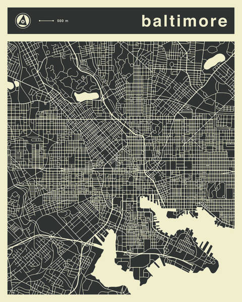 Wall Art - Digital Art - Baltimore Map 3 by Jazzberry Blue