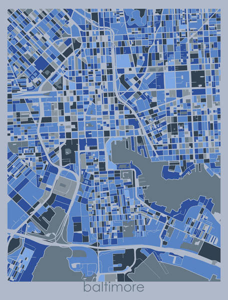 Wall Art - Digital Art - Baltimore Map Retro 5 by Bekim M