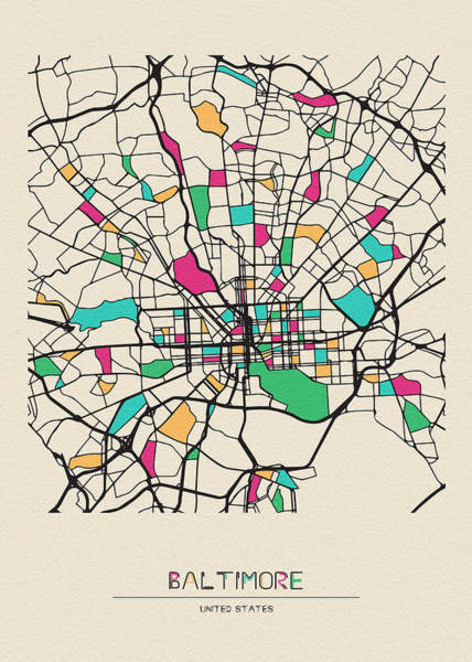 Wall Art - Drawing - Baltimore, Maryland City Map by Inspirowl Design
