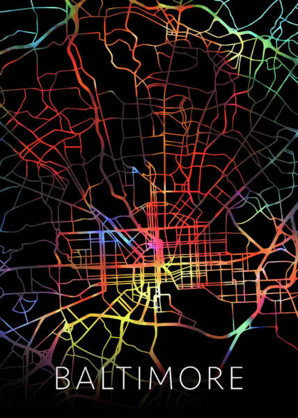 Maryland Mixed Media - Baltimore Maryland City Street Map Watercolor Dark Mode by Design Turnpike