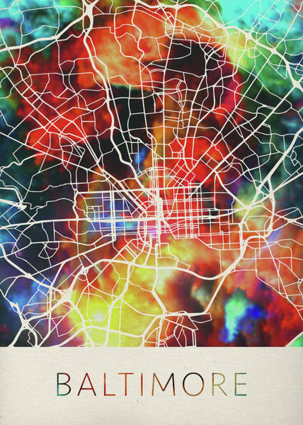 Maryland Mixed Media - Baltimore Maryland Watercolor City Street Map by Design Turnpike