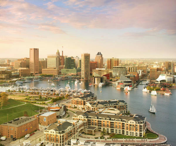 National Aquarium Photograph - Baltimore Skyline And Inner Harbor With by Greg Pease