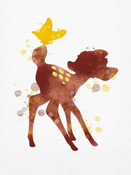 Wall Art - Digital Art - Bambi With Butterfly Watercolor by Mihaela Pater