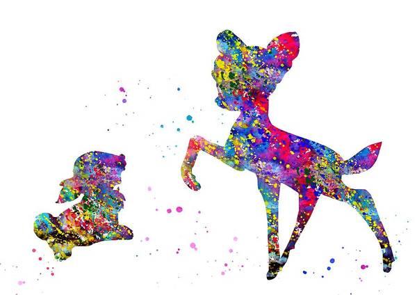 Wall Art - Digital Art - Bambi With Thumper by Erzebet S