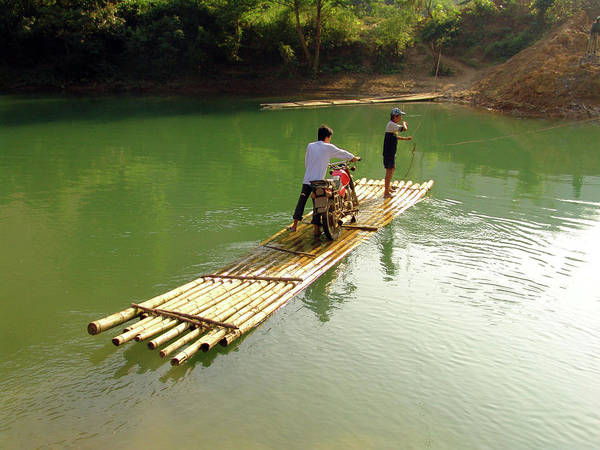 Raft Photograph - Bamboo Raft To Cross River With by Tristan Savatier