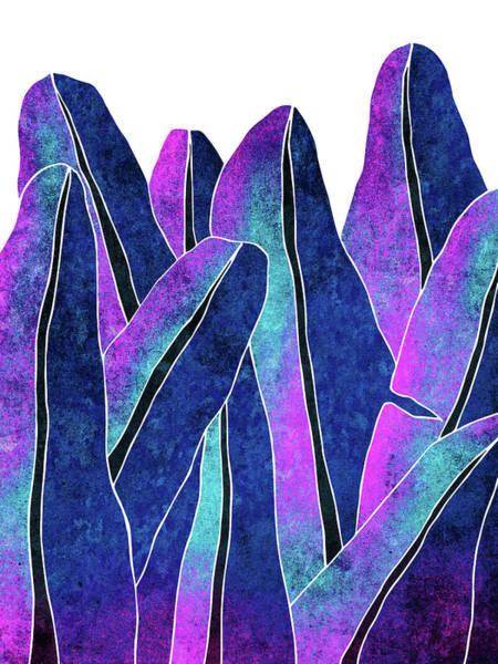 Sunny Mixed Media - Banana Leaf - Blue, Violet, Navy - Tropical Leaf Print - Botanical Art - Modern Abstract by Studio Grafiikka