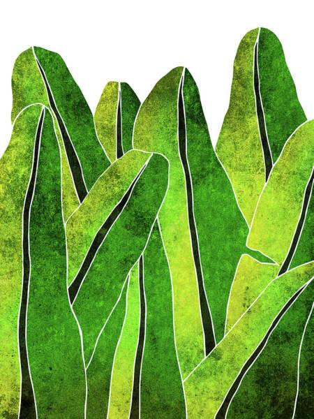 Sunny Mixed Media - Banana Leaf - Green, Yellow, Olive- Tropical Leaf Print - Botanical Art - Modern Abstract by Studio Grafiikka