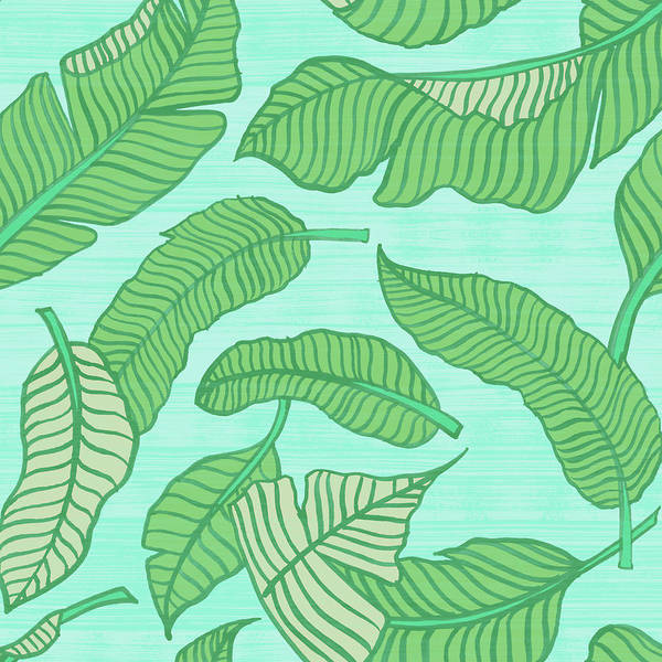 Painting - Banana Leaf Pattern Blue by Jen Montgomery