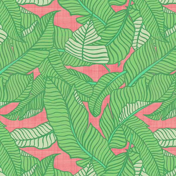Painting - Banana Leaf Pattern Pink by Jen Montgomery