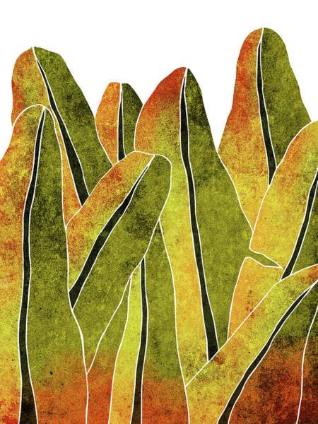 Olives Mixed Media - Banana Leaf - Yellow, Brown - Tropical Leaf Print - Botanical Art - Abstract - Modern, Minimal Decor by Studio Grafiikka