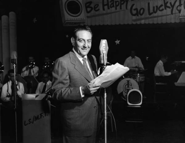 Canadian Culture Photograph - Bandleader Guy Lombardo At Mic by Phil Burchman