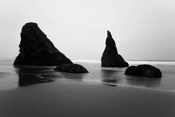 Photograph - Bandon Beach Oregon Bw by Rospotte Photography