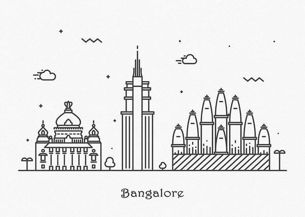 Landmark Center Drawing - Bangalore Cityscape Travel Poster by Inspirowl Design